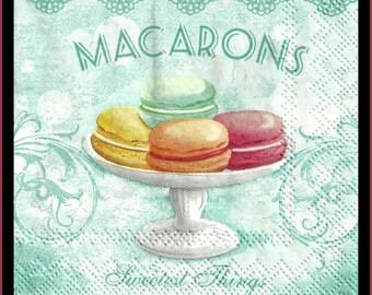 Macarons, 4 Decoupage Paper Napkins, 3 ply 25cm cocktail napkins