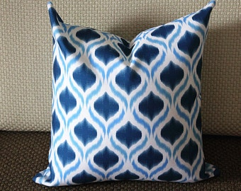 Blue Ikat Pillow - Blue White Pillow - Medium Blue Diamond Pillow - Designer Pillow - Decorative Pillow - Throw Pillow 263