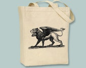 Fantastic Ancient Gryphon Drawing Canvas Tote -- Selection of sizes available