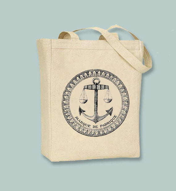 Vintage French Nautical Fabric Stamp with Anchor & Scale Natural or Black Canvas Tote - Selection of sizes available, Image in ANY COLOR