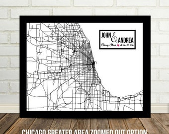 Chicago Map Art Wedding Gift Print Personalized Illinois Map Unique Wedding Gift Personalized Chicago Wedding Art Modern Wedding Gift