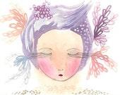 ACEO original short purple hair girl art watercolour illustration