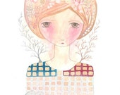 Girl storm print watercolour painting art