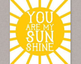 "PRINTABLE 8x10 ""You Are My Sunshine"" poster -- PDF file"
