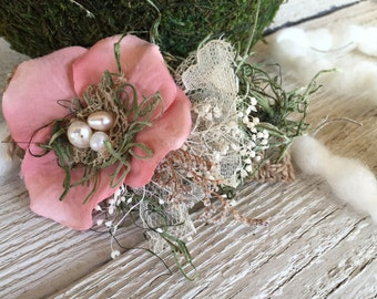 Vintage coral flower and moss headwrap
