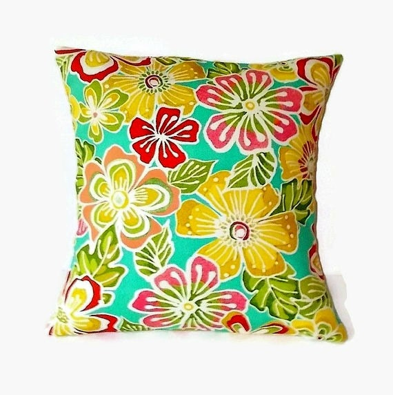 Decorative Tropical Print 16x16 Pillow Cover In Fruity Colors