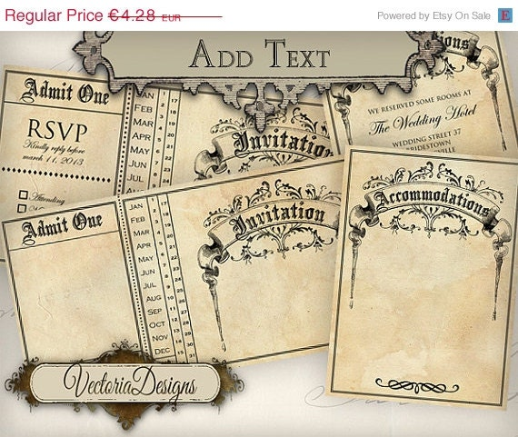 ON SALE Printable Wedding Invitation Ticket 8.75 x 4.35 inch accommodations card instant download digital collage sheet VD0436