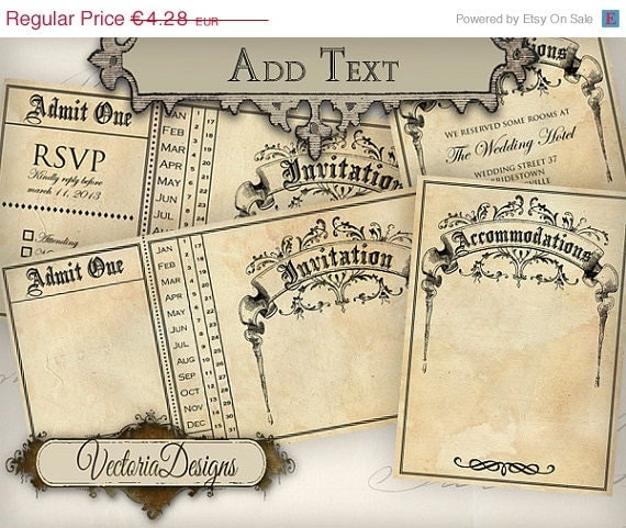 ON SALE Printable Wedding Invitation Ticket 875 X 435 Inch Accommodations Card Instant Download Digital Collage