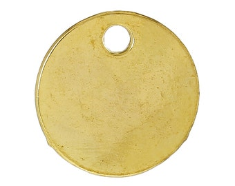 """10 Bright Gold Plated Circle Disc Metal Stamping Blanks, 14 gauge, 5/8"""" diameter (16mm)  msb0275a"""