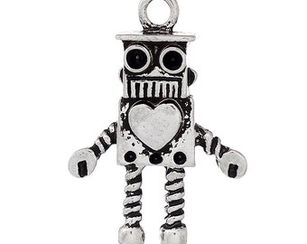 4 Silver ROBOT Charms Pendants, robot with heart, love robot, chs1918
