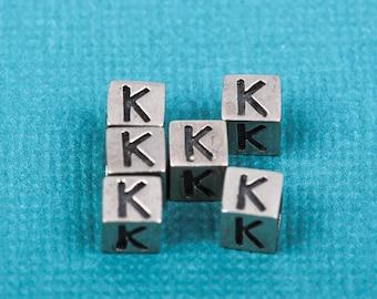 Alphabet LETTER K Sterling Silver Alphabet Block Bead, Square Cube, 4.5mm, pms0315