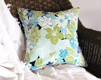 TROPICAL pillow cover, 14 X 14 inches, light teal cushion cover, aqua throw pillow, lime pillow case, aqua floral porch pillow