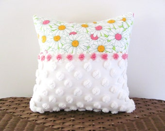 SPRING DAISIES 14 X 14 pink cushion cover porch pillow cover cottage chic shabby style vintage chenille