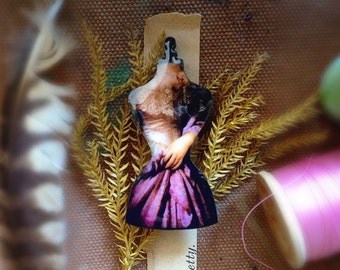 Dreamy Dressform Lasercut Wood Pin