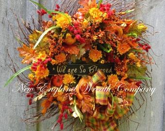 Fall Wreath, Autumn Wreath, Fall Floral Wreath, Thanksgiving Wreath, Harvest, Designer Wreath, Fall Floral, Country Fall Wreath