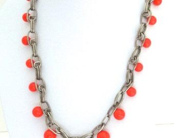 Vintage Orange Glass Necklace Czechoslovakia