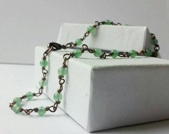Wire Wrapped Jade Ankle Bracelet