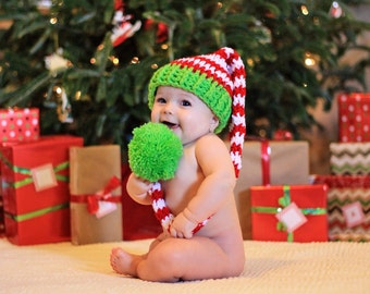 6  Month Hat, Christmas Hat, Long Tail Elf Hat, Holiday Hat , Red And Green Santa Hat, Elf Hat, Toddler Christmas Hat, Striped Santa Hat
