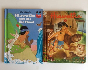 1950 Hiawatha Rand McNally Elf Book & Disneys Hiawatha and the Big Flood