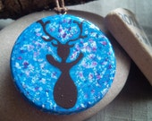 Elen Horned Goddess Painted Wood Pendant