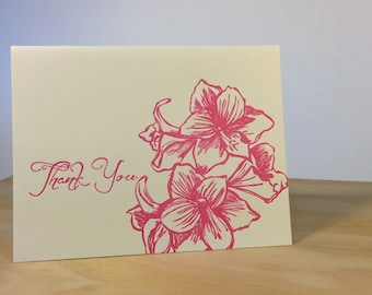 Thank You Flowers Letterpress Card