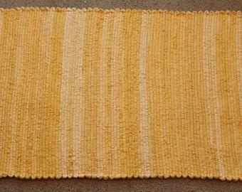 Handwoven Rag Rug - Sunflower Yellow - 49 inches....(#82)