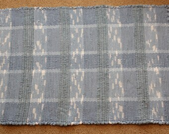 Handwoven Rag Rug - Multi-Striped Baby/Country Blue - 37 inches....(#89)
