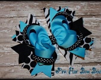 Girls Boutique Hair Bow - Turquoise Hair Bow - Stacked Boutique Hair Bow - Boutique hair bows - Polka Dot - Zebra Hair Bow - Girls Hair Bow