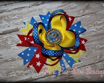 Circus Hair Bow , Under the Big Top , Circus Boutique Hair bow , red blue and yellow chevron