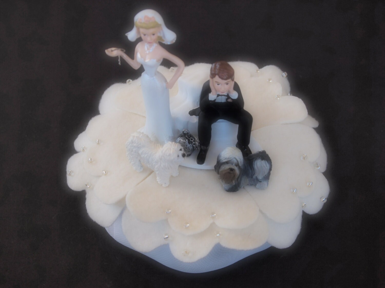 Wedding Cake Topper ical Bride and Groom Two Dog Shih Tzu