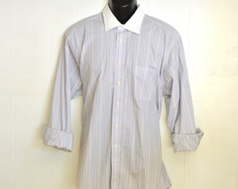 Vintage Mens Dress Shirt L/S Gitman Bros.Contrasting White Collar Large 16 1/2 - 34 Oxford Shirt 90's Pale Blue w/ Multi Colored Stripes