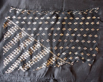 Black and silver colour antique Egyptian  assuit piece  with stripes and dots  (K)