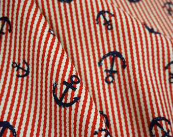Anchor and rope, red, fat quarter, pure cotton fabric