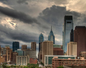 Philadelphia Skyline with Storm Clouds, Color Photograph, Urban Landscape, Pennsylvania, Liberty Place, Comcast Center, Sky, HDR, Art Print