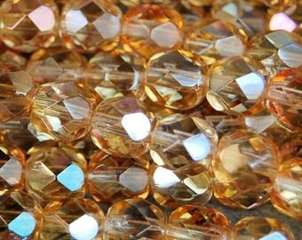 6mm Crystal Celsian Czech Glass Faceted Bead  -25 czech beads