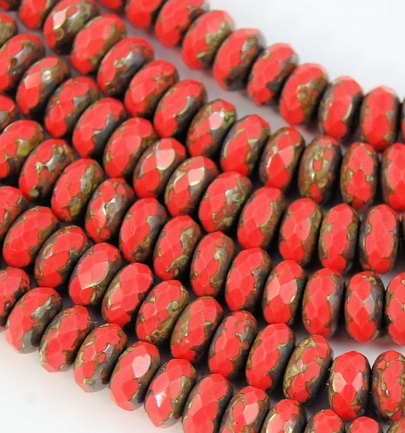 Czech Glass Beads Coral Picasso Puffed Rondelles 9x6mm- 7 inch strand