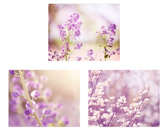 Purple Flower Set, lavender floral photography, pastel nursery wall art girls room decor, nature art prints, pale light purple pictures