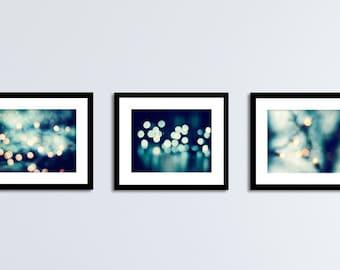 Dark Blue Abstract Photography Set, abstract lights photos navy wall art gold cream bokeh sparkle prints sparkly decor modern circles print