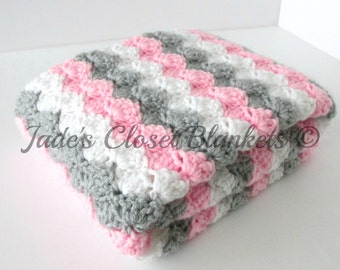Crochet Baby Blanket, Baby Blanket, White, Grey, and Pink, crib size