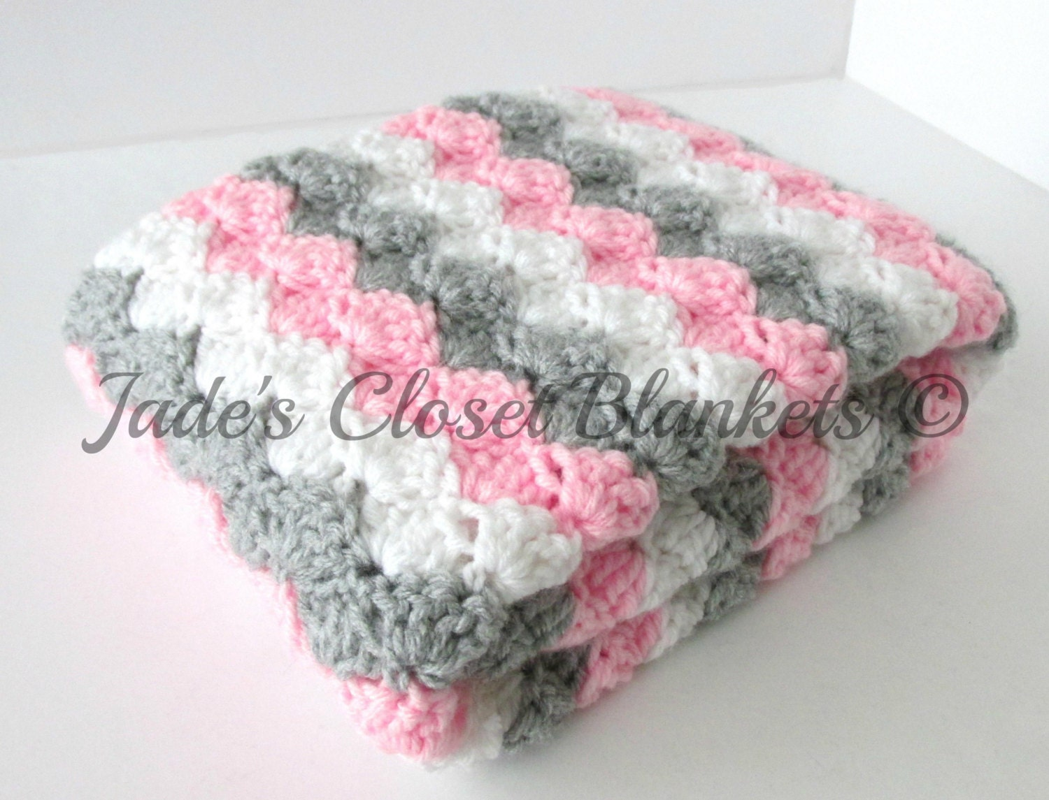 Crochet Baby Blanket Baby Blanket White Grey And Pink