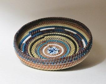 Pine needle art basket, shades of blue, handwoven basket, home decor,  by Linda Miranda