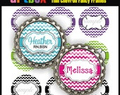 Editable Thin Chevron Fancy Frames Bottle Cap Images - 4x6 Digital Jpeg File Collage Sheet - BottleCap One Inch Circles for Badge Reels