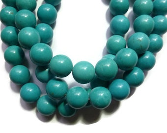 Blue Turquoise Magnesite - 14mm Round - 28 beads - Full Strand