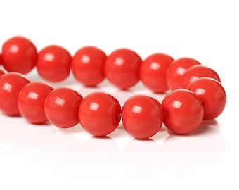 40 Watermelon Round Glass Beads 8mm