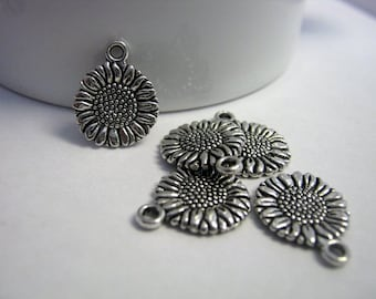 Sunflower Antique Silver Charms   b101