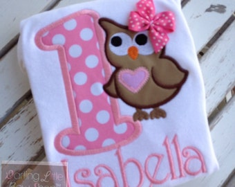 First Birthday Owl shirt, tank top or bodysuit for girls  -- Pretty Little Owl -- Brown and pinks with name in pink chevron