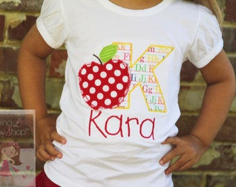 Back to School Shirt Girls -- Apple of My Eye -- personalized shirt with shabby apple -- perfect for starting Kindergarten