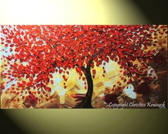 CUSTOM Large Art Abstract Painting Red Tree Fall Wall Art Modern Textured Palette Knife Blue Brown Gold MADE to ORDER - Christine Krainock