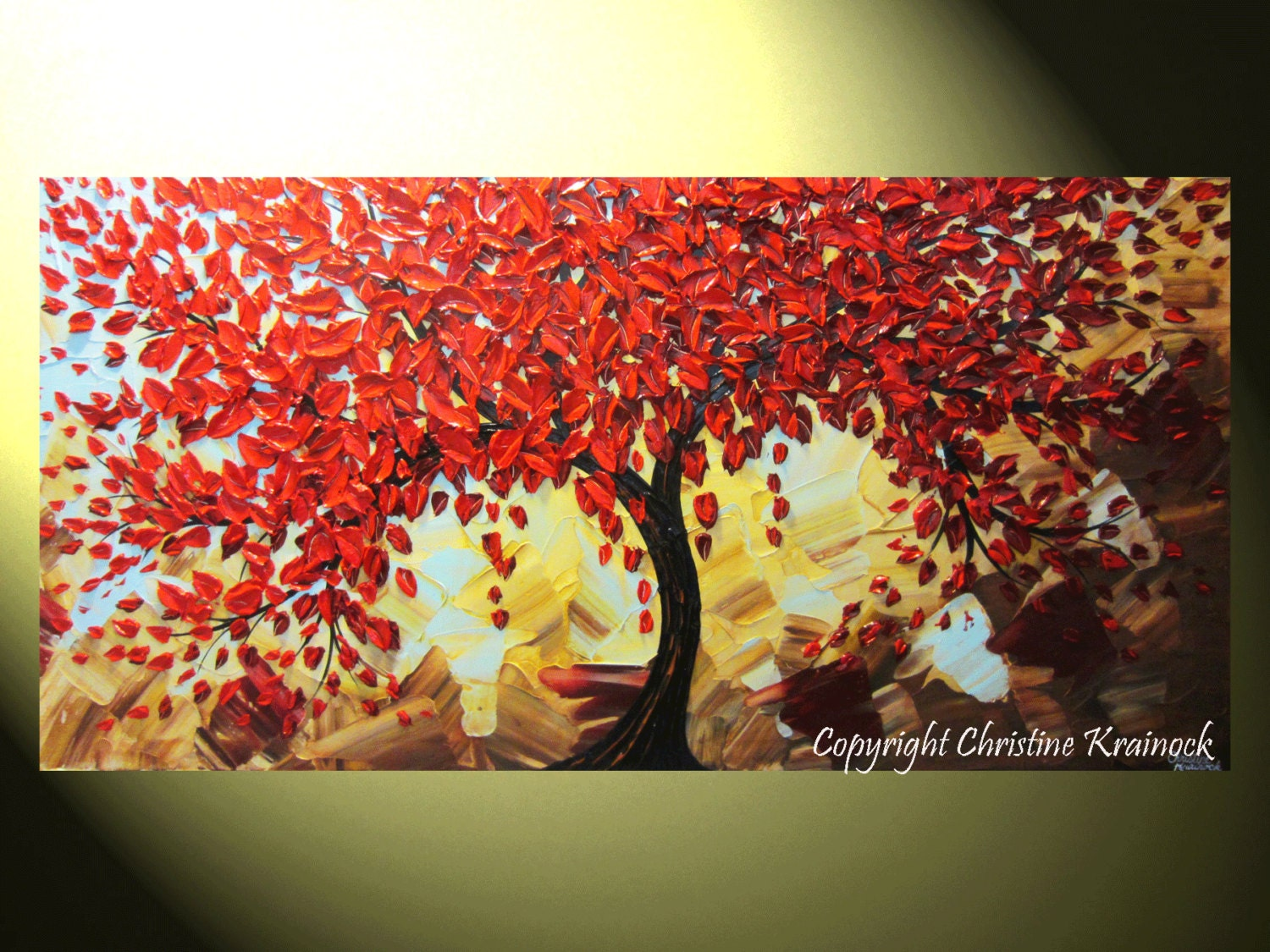 Custom large art abstract painting red tree fall wall art for Contemporary mural