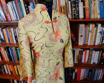 SURFRIDERS SPORTSWEAR--Incredible 1940s Silky Rayon Pake Mu with Leis in Buttercream Yellow-S,M